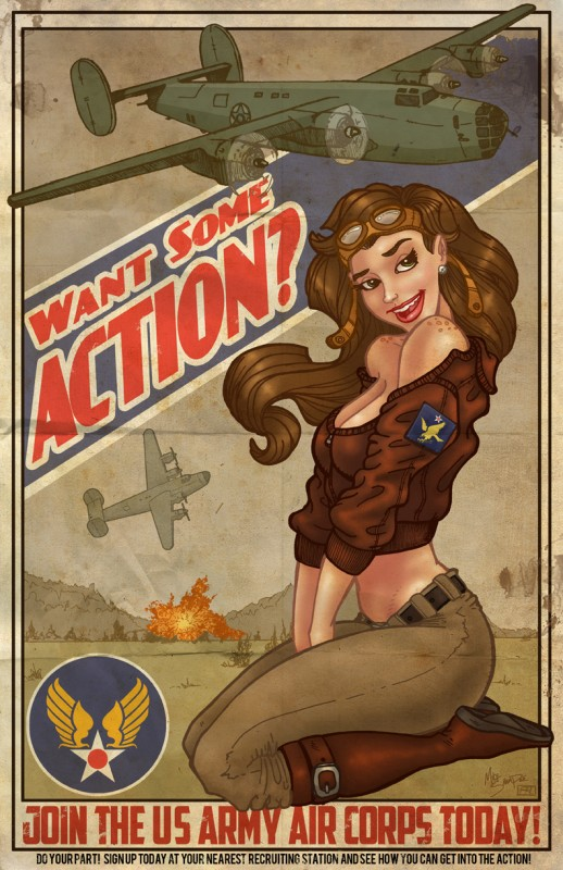 """B-24 Want Some Action?"" - Art by Mike Shampine"